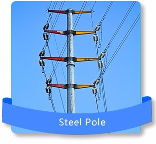Double Circuit 35kV 380kV Q235 Transmission Line Steel Pole Tower
