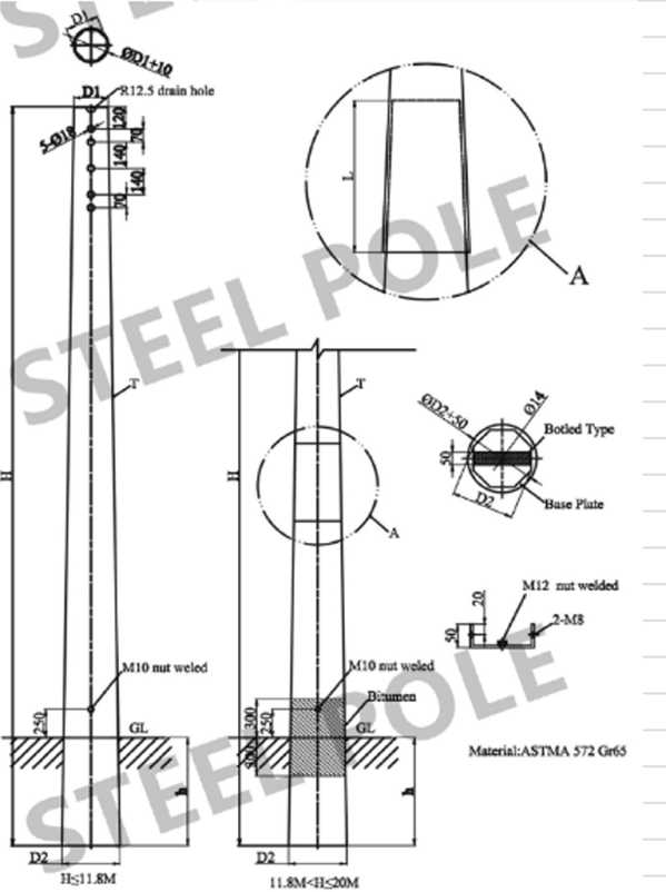 Transmission Line Galvanized Steel Tubular Pole