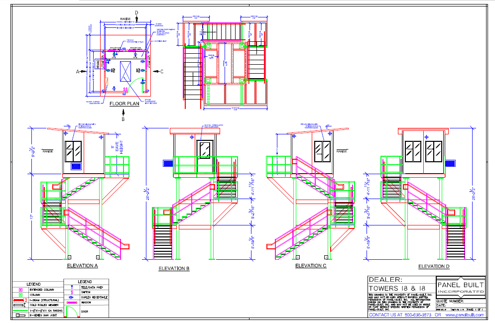 Fire lookout Steel Tower CAD
