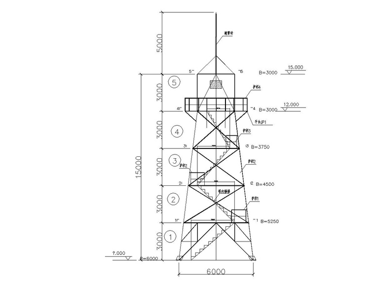 15 meters observation tower steel structure map_1